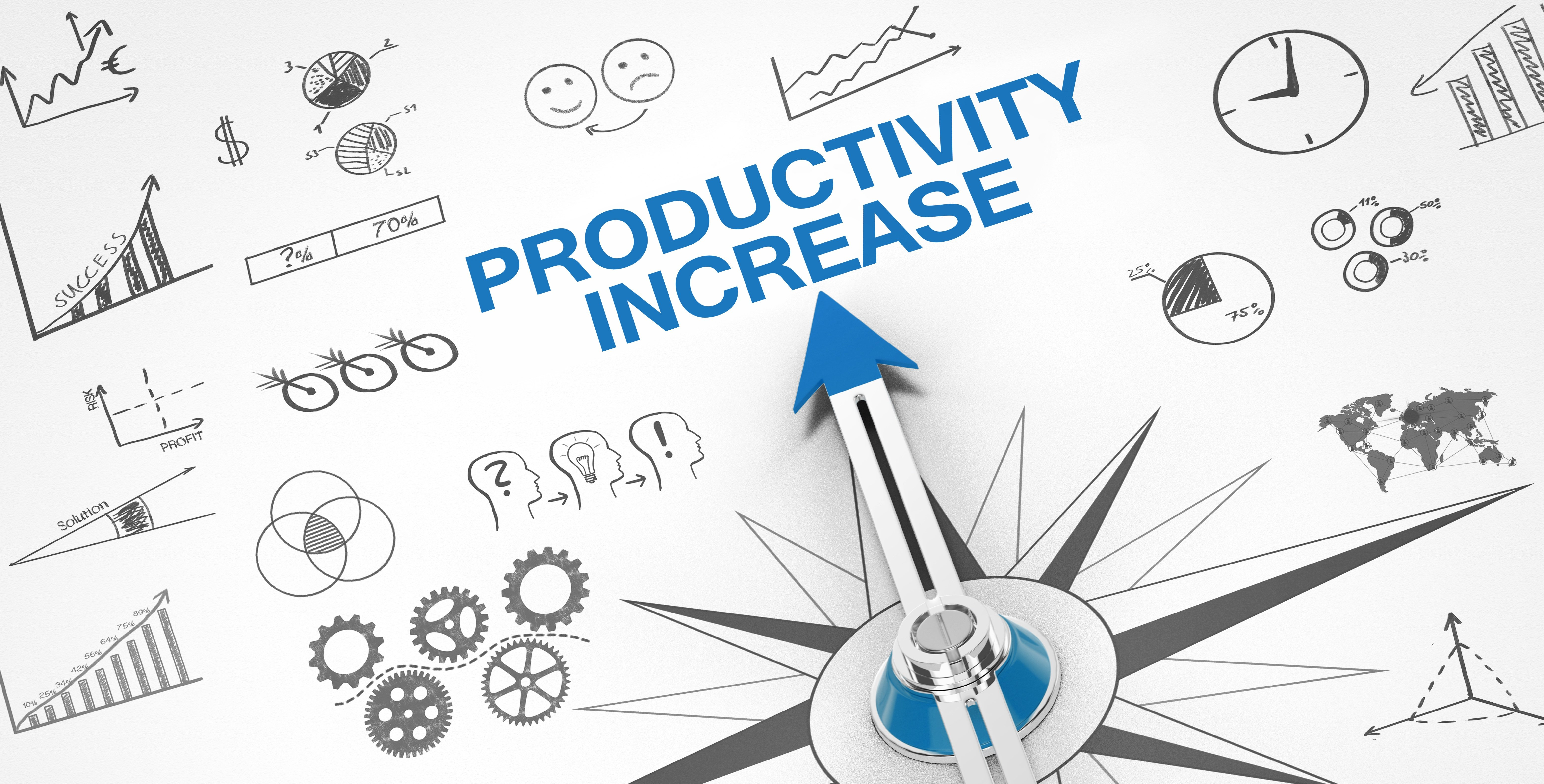 """Graphic showing an arrow pointing to the words """"Productivity increase"""""""