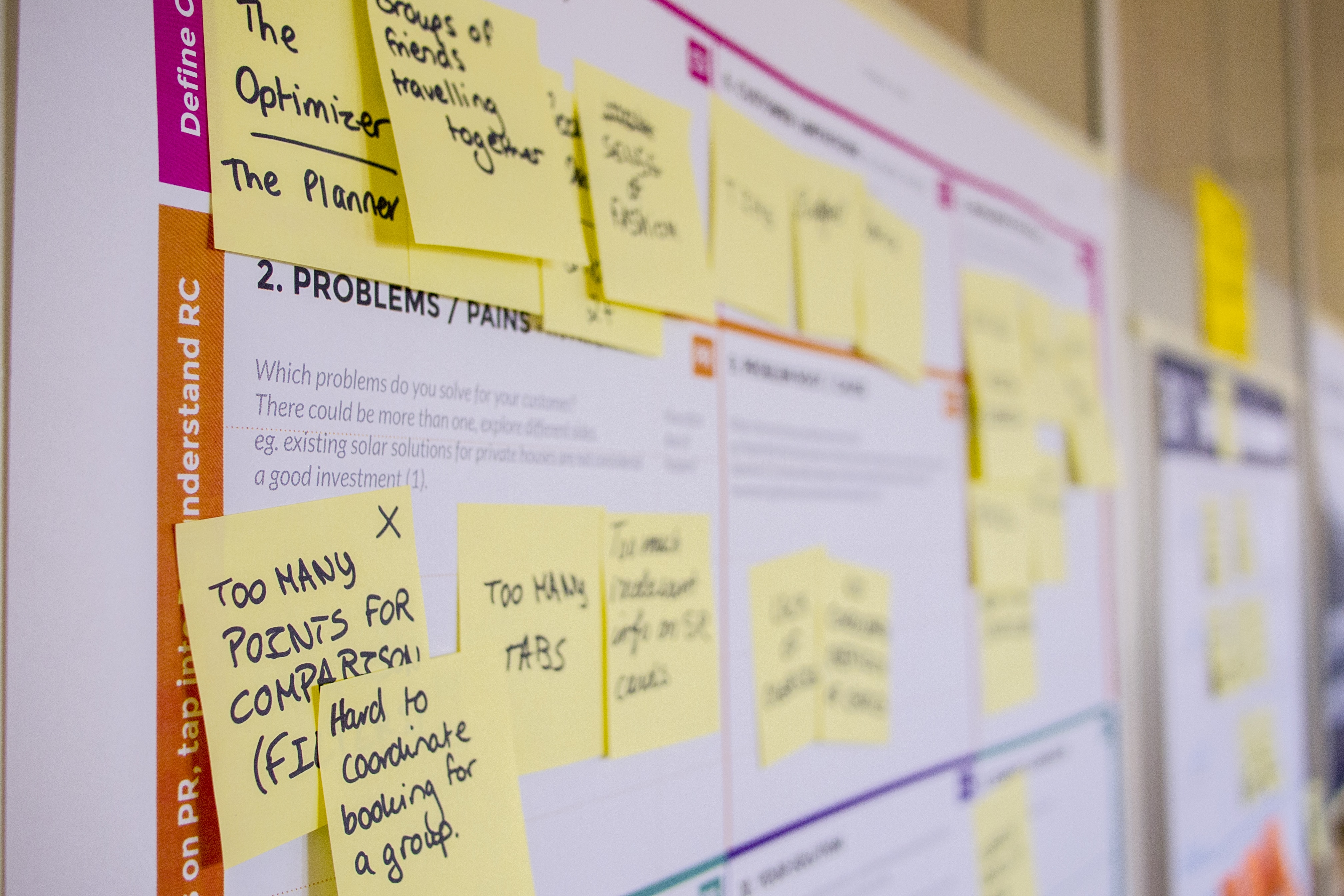 Photo of an agile board with plans on it. It's covered with post-its that people are trying to use to sort their priorities.