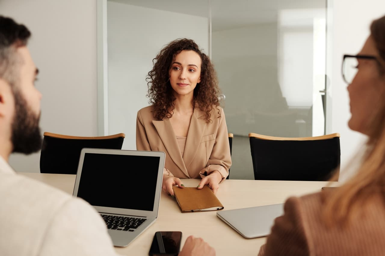 Photo of a woman at a job interview.