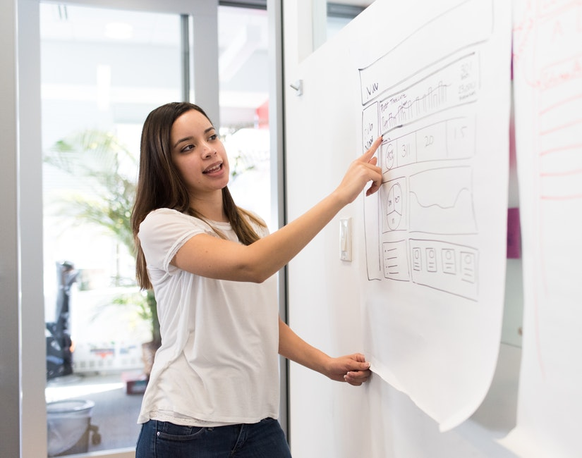 photo of a woman explaining a graph on a white board