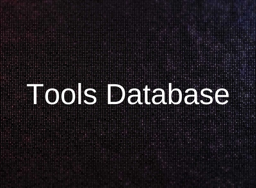 photo of black background covered in white code. On top of the image there is text that says Tools Database