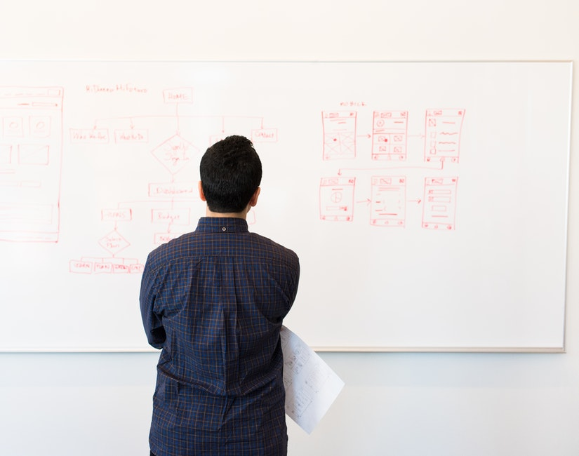 photo of a man looking at a diagram drawn on a whiteboard