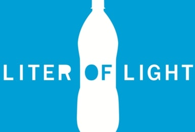 Liter of Light Logo - white text on a blue background with a water bottle
