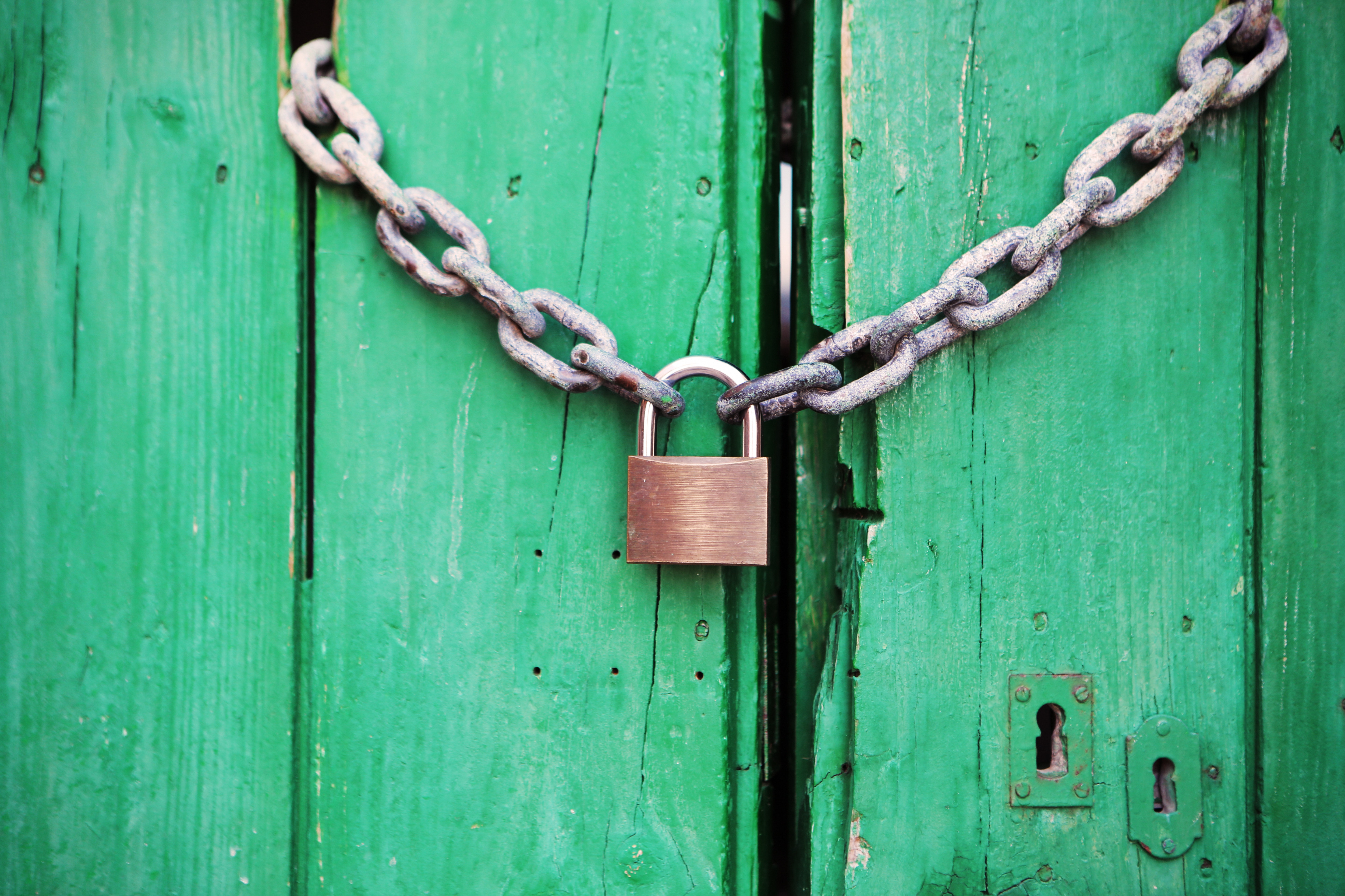 Photo of a green wooden gate with a metal lock on it. The lock symbolizes people's goals to unlock their productivity